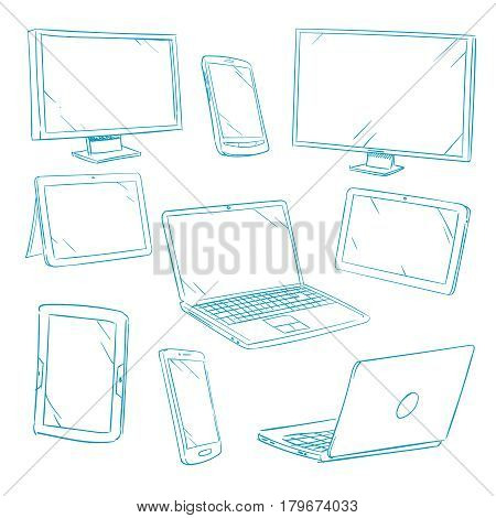 Doodle digital devices, tablet, pc, laptop, cell phone line vector icons. Tablet and laptop, gadget device smartphone, illustration of smart gadget