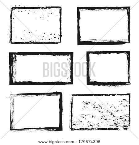 Rough grunge distressed ink vector image border frames. Rough frame texture, illustration of decorative border frame