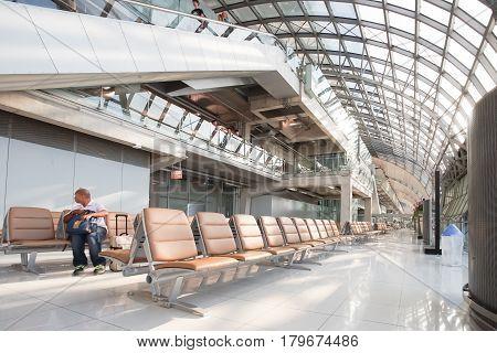 SAMUT PRAKAN THAILAND - JANUARY 19 2017: Travelers passengers waiting flight in the terminal of Suvarnabhumi Airport