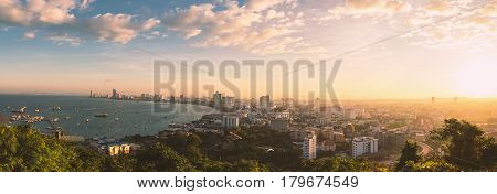 Pattaya City and Sea with morning sunrise Thailand. Pattaya city skyline and pier at morning in Pattaya Chonburi Thailand. Pattaya view. Pattaya morning. Pattaya sunrise.
