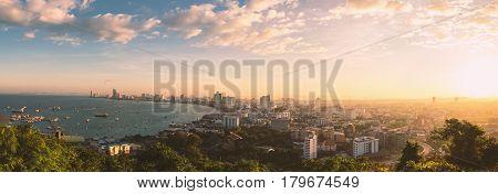 Pattaya City and Sea with morning sunrise Thailand. Pattaya city skyline and pier at morning in Pattaya Chonburi Thailand. Pattaya view. Pattaya morning. Pattaya sunrise.