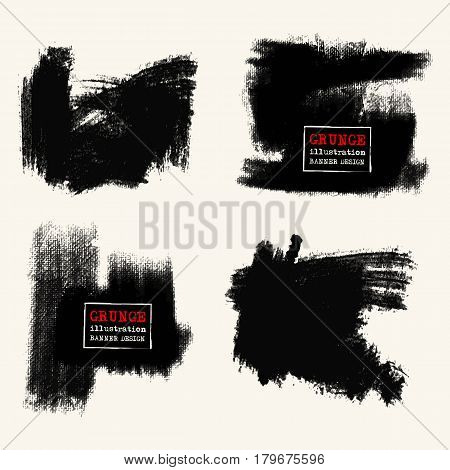 Vector set of black brush strokes. Grunge isolated elements. Smoke brushes for your design. Freehand. Ink splash. Acrylic stamp. Vector illustration