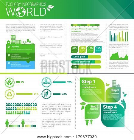 World Environmental Protection Green Energy Ecology Infographics Banner With Copy Space Vector Illustration