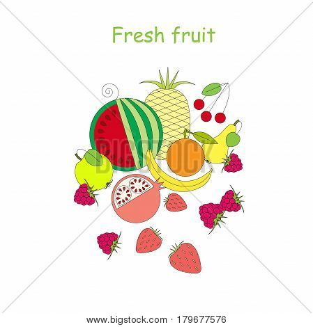 Flat style banner Fresh fruit for advertising stock vector illustration
