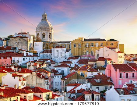 Portugal Lisboa - Old city Alfama at sunrise