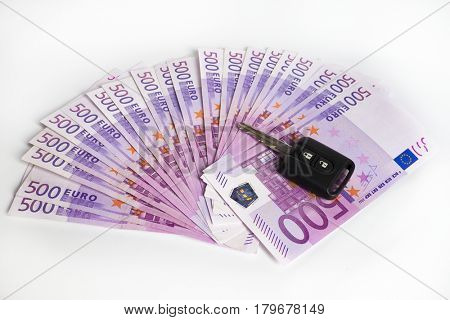 cash for car - car key on Euro notes background