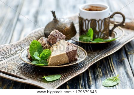 Plate With Halva Tahini With Chocolate And Black Turkish Coffee.