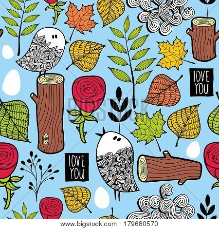 Endless background with stubs and flowers. Vector illustration in doodle style.