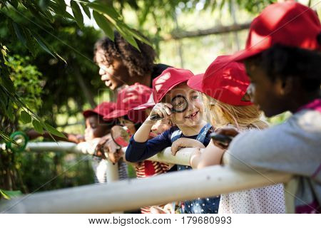 Group of student are in a field trip