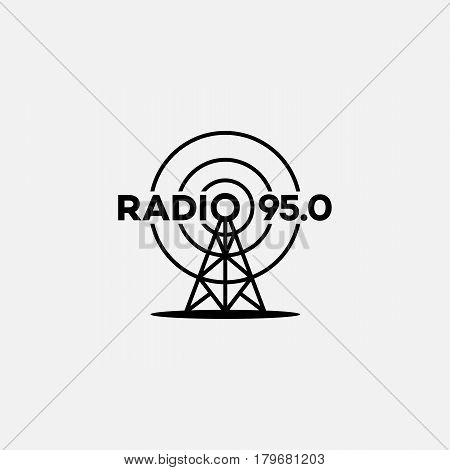 Template for logo label and emblem in outline style with radio tower. Black and white. Vector illustration.