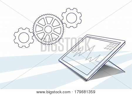 Tablet Computer Responsive Design Financial Graph Working Process Vector Illustration