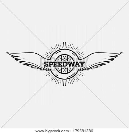 Template for logo label and emblem in outline style with wheel wings and rays. Black and white. Vector illustration.