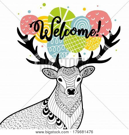 Doodle deer with message on the horns. Vector illustration.