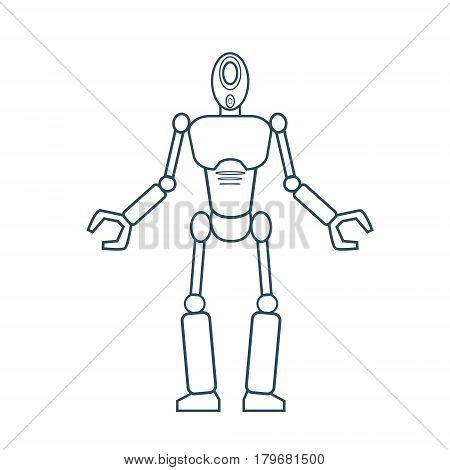 Modern Robot Futuristic Mechanism Thin Line Vector Illustration