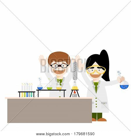Cartoon chemistry concept with chemistry man. Chemistry laboratory. Children are studying and working in chemistry lab. Isolated chemistry.