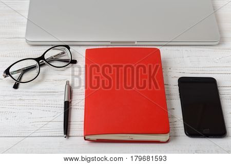 Office desk table of business workplace and business objects.Modern office workplace.Picture with copy space and for add text.Stylish minimalistic workspace. Clean notebook for text