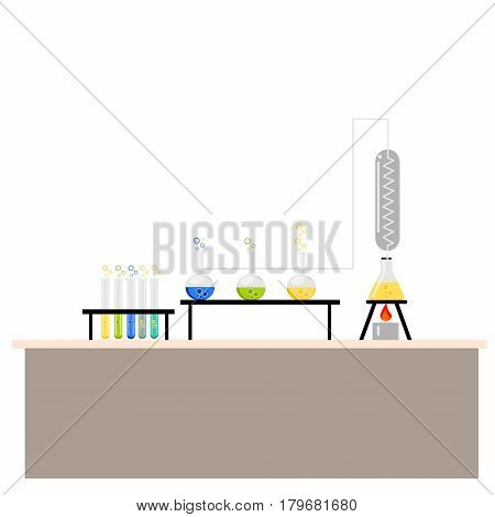 Cartoon chemistry concept . Chemistry laboratory. Chemistry test. Chemistry experiment.  Isolated chemistry. Chemistry fun. Chemistry concept. Chemistry lesson