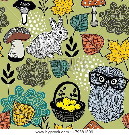 Seamless pattern of mushrooms and forest animals. Vector textured illustration.