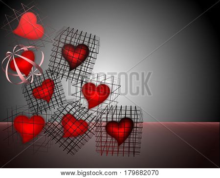 beautiful red hearts locked in cages , cages stacked pile