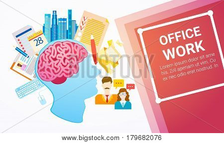 Office Work Business Company Process Banner Flat Vector Illustration