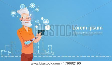 Senior Man Hipster Using Cell Smart Phone Chatting Online Flat Vector Illustration
