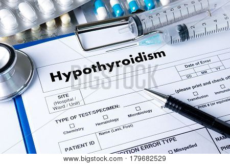 Hypothyroidism Doctor Hand Working Professional Medical Concept