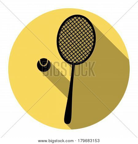 Tennis racquet sign. Vector. Flat black icon with flat shadow on royal yellow circle with white background. Isolated.