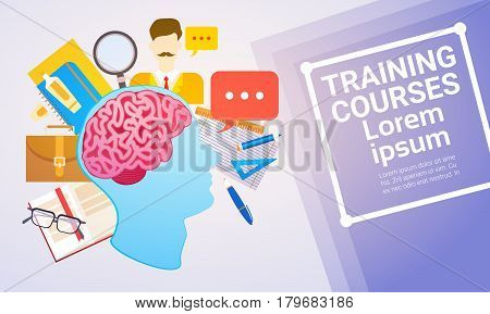 Training Courses Education Online Learning Web Banner Flat Vector Illustration