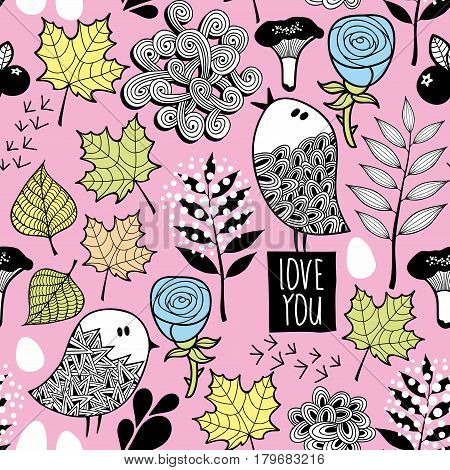 Seamless pattern with small birds in the forest. Vector textured illustration.