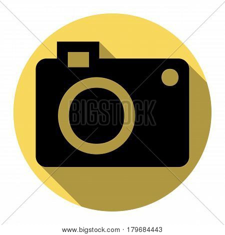 Digital camera sign. Vector. Flat black icon with flat shadow on royal yellow circle with white background. Isolated.