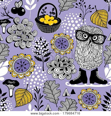 Seamless pattern of forest life. Vector textured illustration.