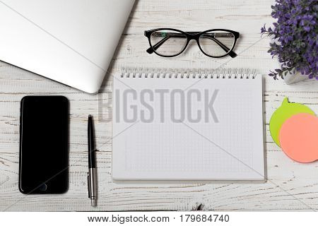Office desk table of business workplace and business objects.Modern office workplace.Picture with copy space and for add text.Stylish minimalistic workspace. Space for text