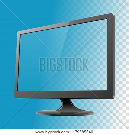 Personal computer noname monitor mockup on the white background. Vector illustration