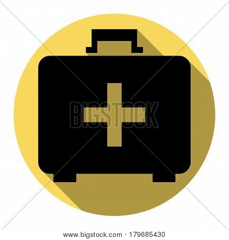 Medical First aid box sign. Vector. Flat black icon with flat shadow on royal yellow circle with white background. Isolated.
