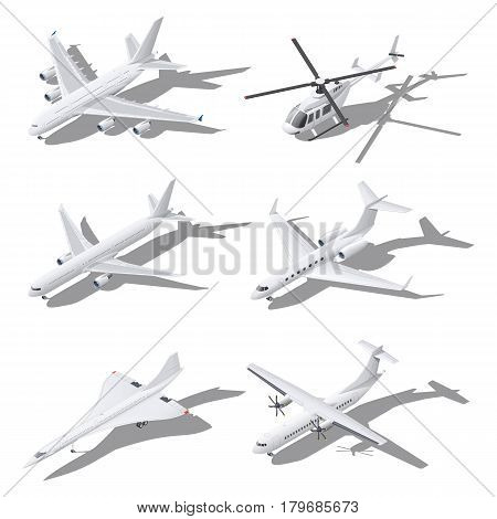 Various passenger aircraft isometric icon set vector graphic illustration