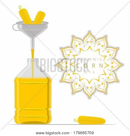 Vector illustration logo for set yellow glass bottle Corn Oil plastic bottles with cap jar maize oil metal container natural organic liquid corn in label oily drop.