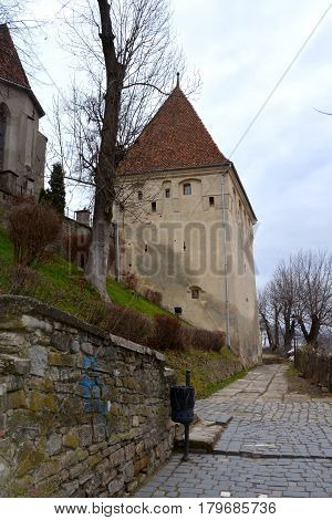 Medieval city Sighisoara. Urban landscape in the downtown of the medieval city Sighisoara, Transylvania.