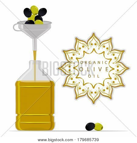 Vector illustration logo for set yellow glass bottle Olive Oil,plastic bottles with cap,iron jar olive oil,metal container natural organic liquid,olives in label,oily drop,closeup on white background.
