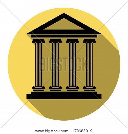 Historical building illustration. Vector. Flat black icon with flat shadow on royal yellow circle with white background. Isolated.
