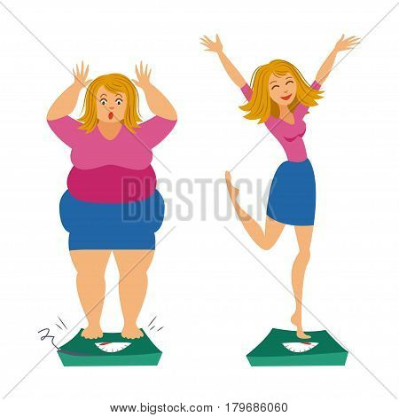 Fat and slim girls. Sadly thick woman and happy slender woman. Before and after. Weight loss concept. Vector illustration