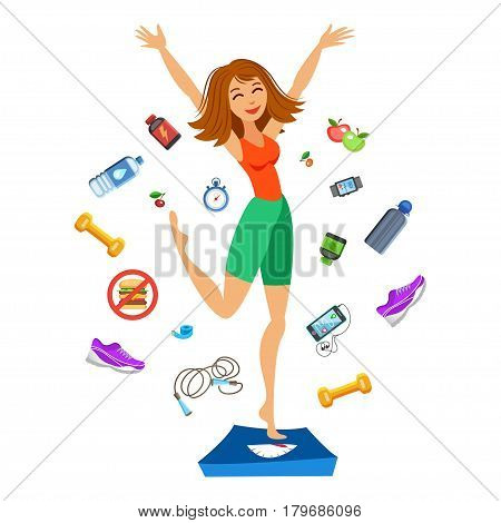 Sporty young woman jumping on the scales. Happy fit girl. Smiling cartoon girl with fitness kit elements. Sport concept vector illustration