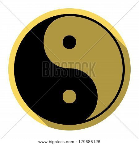 Ying yang symbol of harmony and balance. Vector. Flat black icon with flat shadow on royal yellow circle with white background. Isolated.