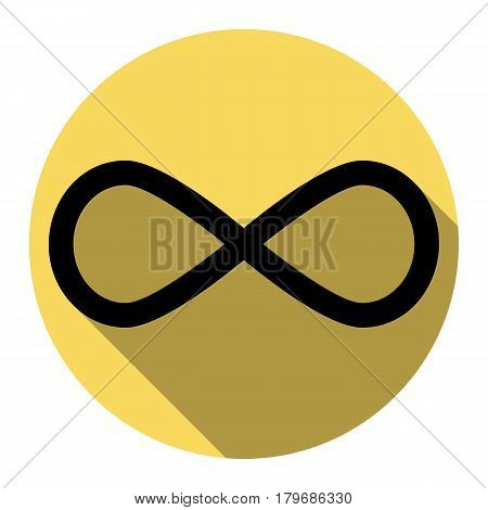 Limitless symbol illustration. Vector. Flat black icon with flat shadow on royal yellow circle with white background. Isolated.