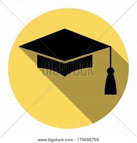 Mortar Board or Graduation Cap, Education symbol. Vector. Flat black icon with flat shadow on royal yellow circle with white background. Isolated.