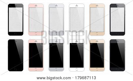 smartphone mockup set isolated on white background. stock vector illustration eps10