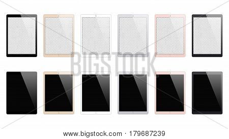 tablet mockup set isolated on white background. stock vector illustration eps10