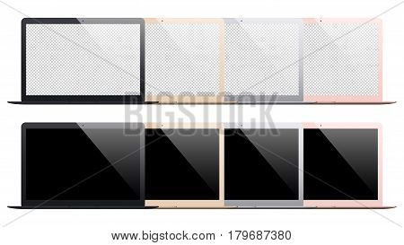 laptop mockup set isolated on white background. stock vector illustration eps10