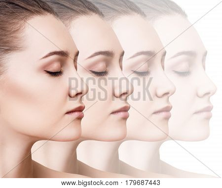 Collage of disappearing faces of sensual woman over white background.