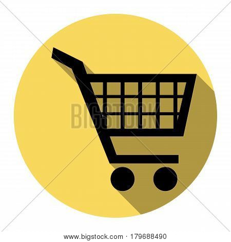 Shopping cart sign. Vector. Flat black icon with flat shadow on royal yellow circle with white background. Isolated.