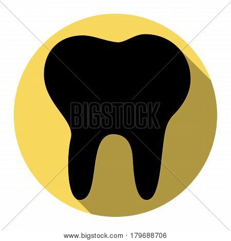 Tooth sign illustration. Vector. Flat black icon with flat shadow on royal yellow circle with white background. Isolated.